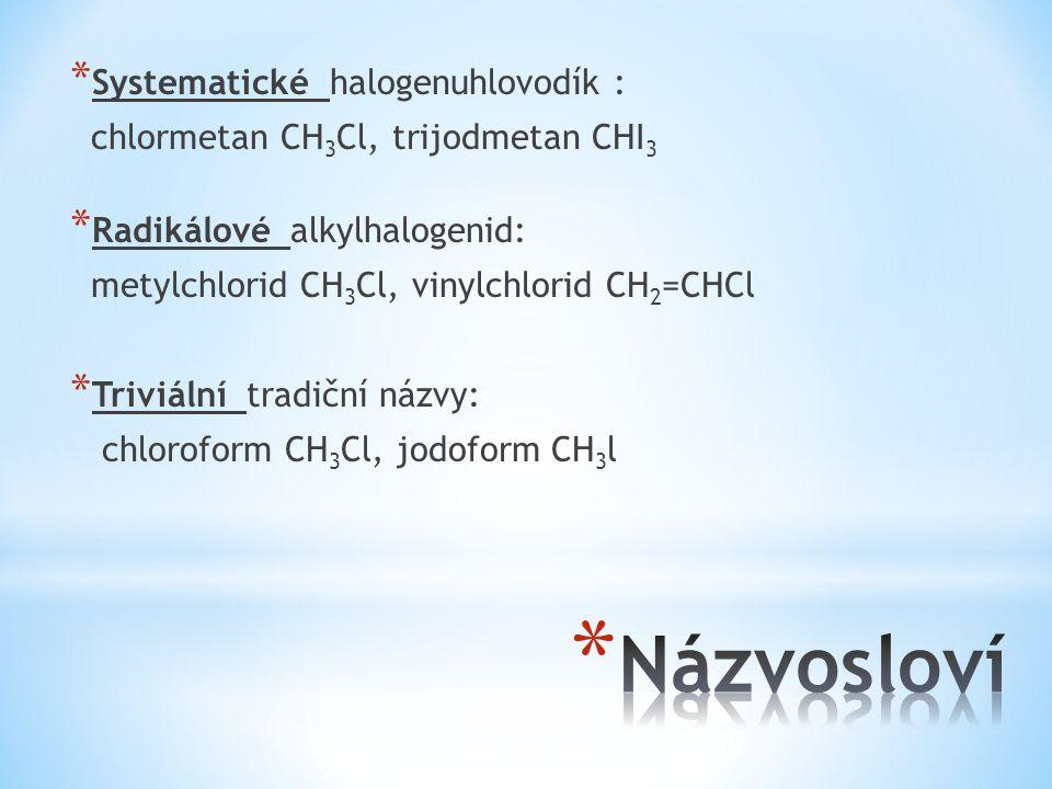 Názvosloví Systematické halogenuhlovodík :