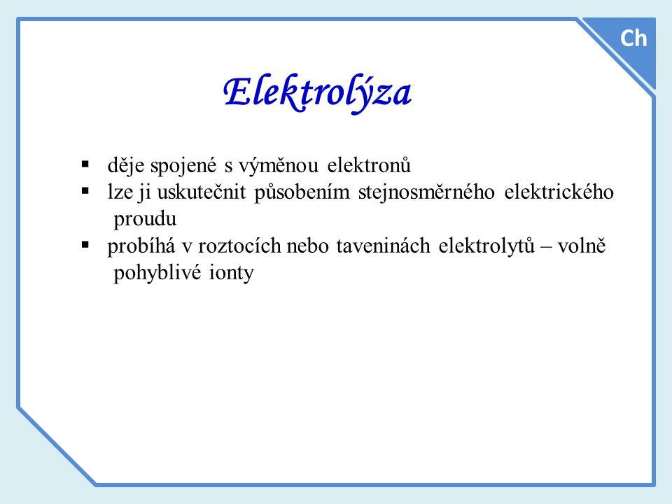 Elektrolýza Ch děje spojené s výměnou elektronů