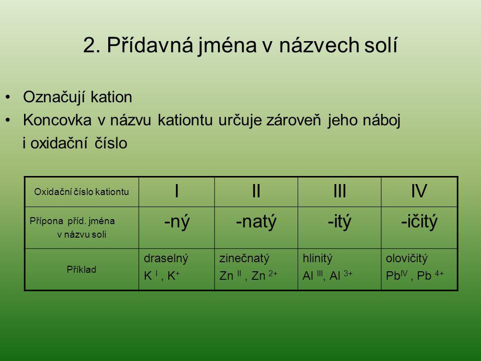 2. Přídavná jména v názvech solí