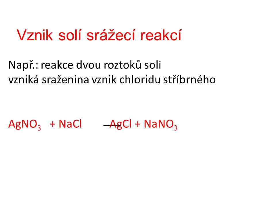 Vznik solí srážecí reakcí