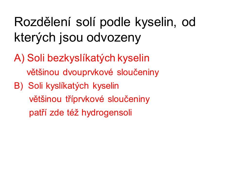 Rozdělení solí podle kyselin, od kterých jsou odvozeny