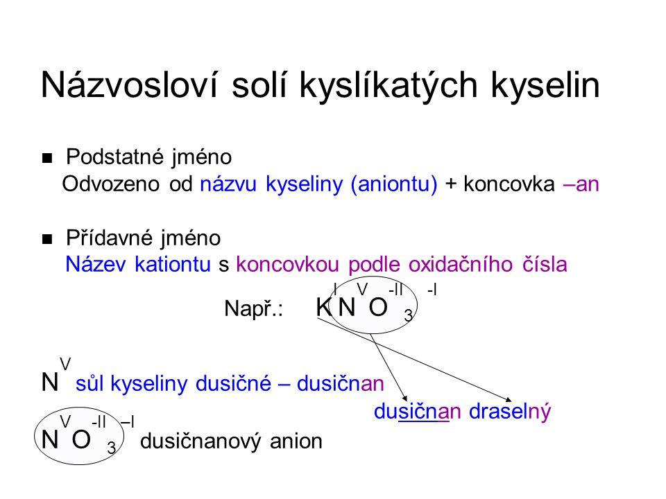 Odvozeno od názvu kyseliny (aniontu) + koncovka –an