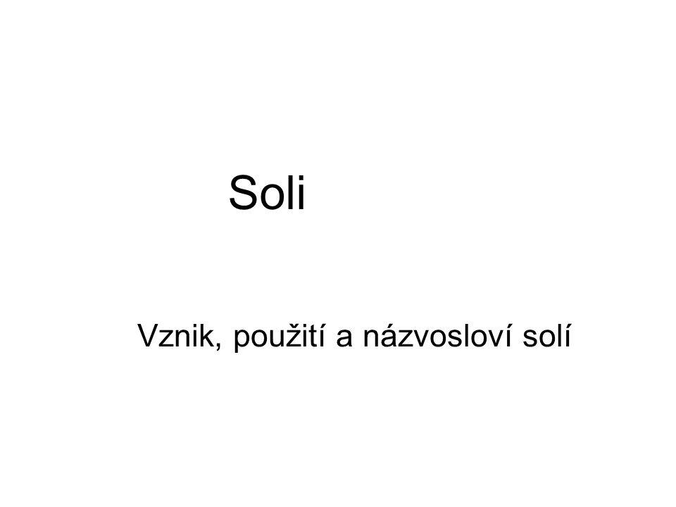 Soli Vznik, použití a názvosloví solí