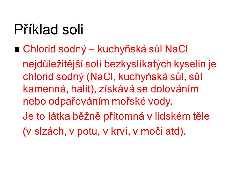 Příklad soli Chlorid sodný – kuchyňská sůl NaCl