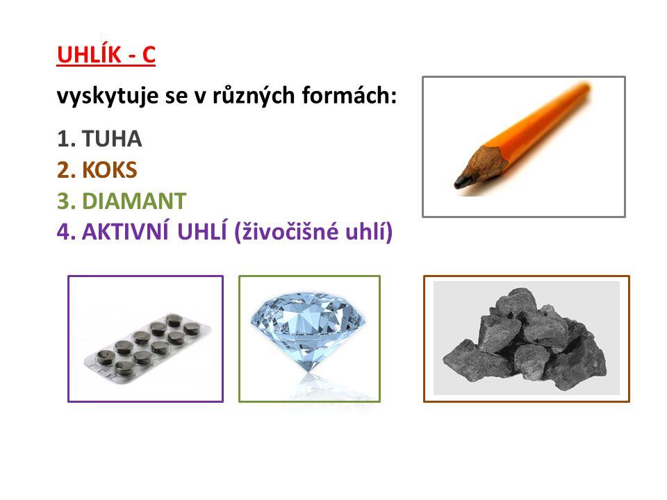 UHLÍK - C vyskytuje se v různých formách: TUHA KOKS DIAMANT AKTIVNÍ UHLÍ (živočišné uhlí)