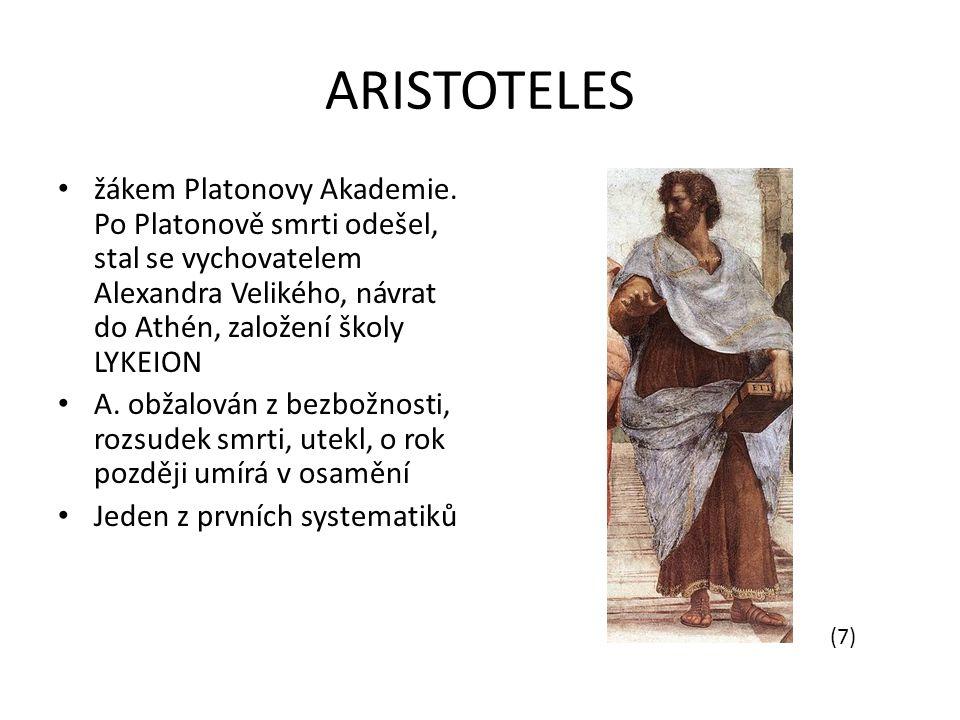 ARISTOTELES žákem Platonovy Akademie. Po Platonově smrti odešel, stal se vychovatelem Alexandra Velikého, návrat do Athén, založení školy LYKEION.