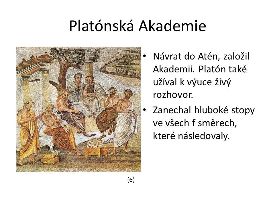 Platónská Akademie Návrat do Atén, založil Akademii. Platón také užíval k výuce živý rozhovor.