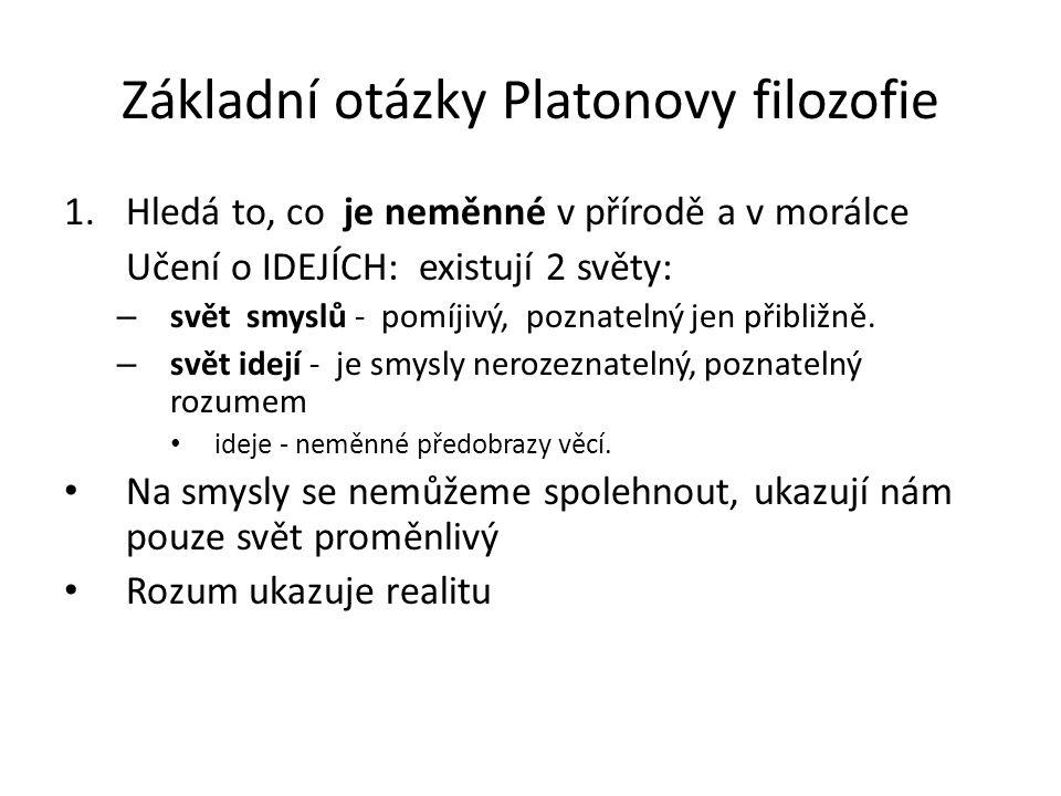 Základní otázky Platonovy filozofie
