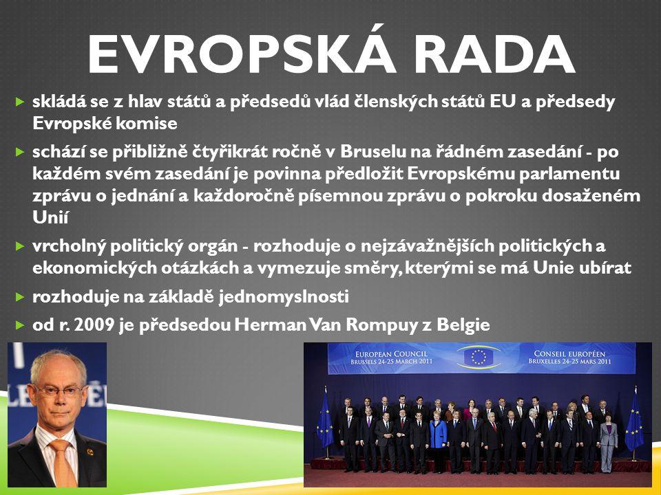 EVROPSKÁ RADA skládá se z hlav států a předsedů vlád členských států EU a předsedy Evropské komise.