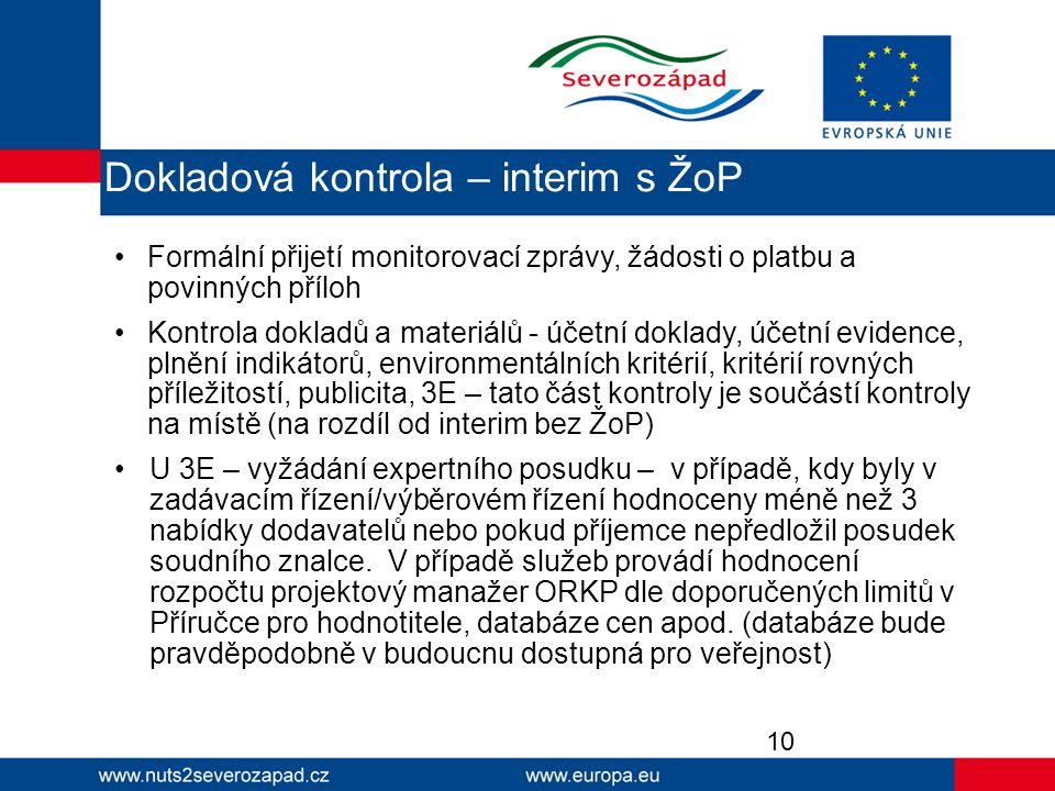 Dokladová kontrola – interim s ŽoP