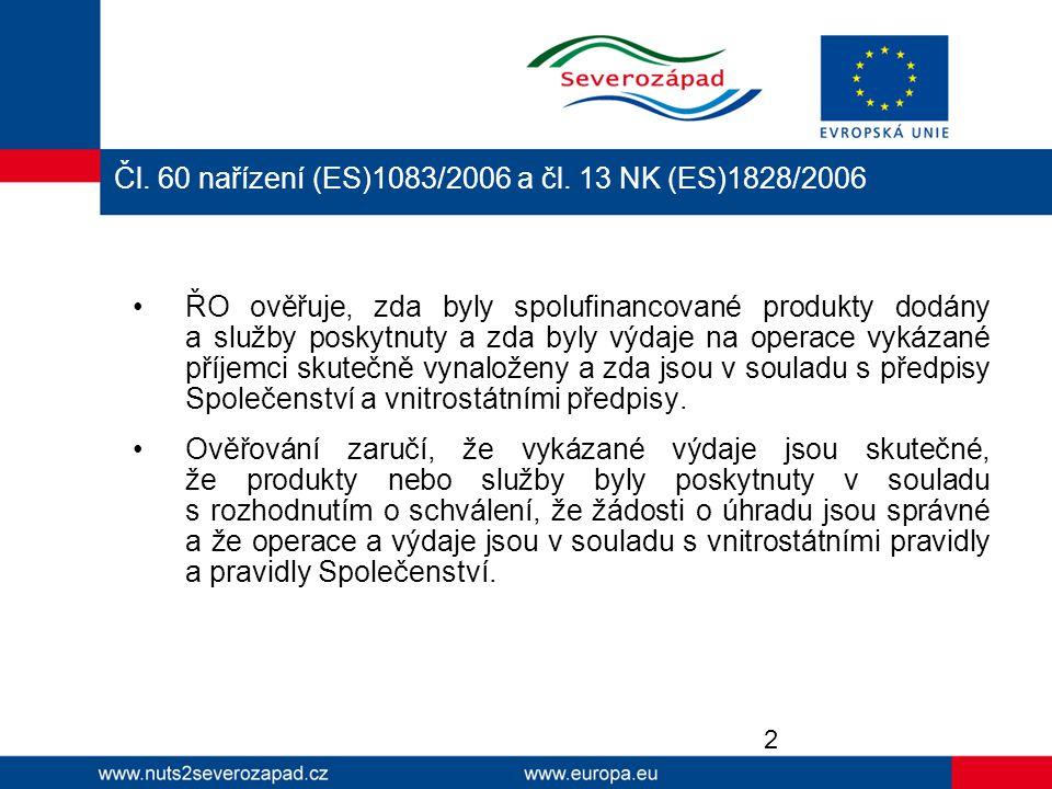 Čl. 60 nařízení (ES)1083/2006 a čl. 13 NK (ES)1828/2006