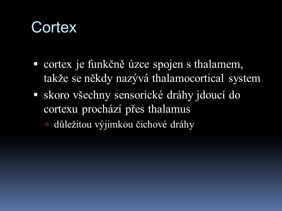 Cortex cortex je funkčně úzce spojen s thalamem, takže se někdy nazývá thalamocortical system.
