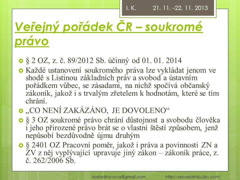 Veřejný pořádek ČR – soukromé právo