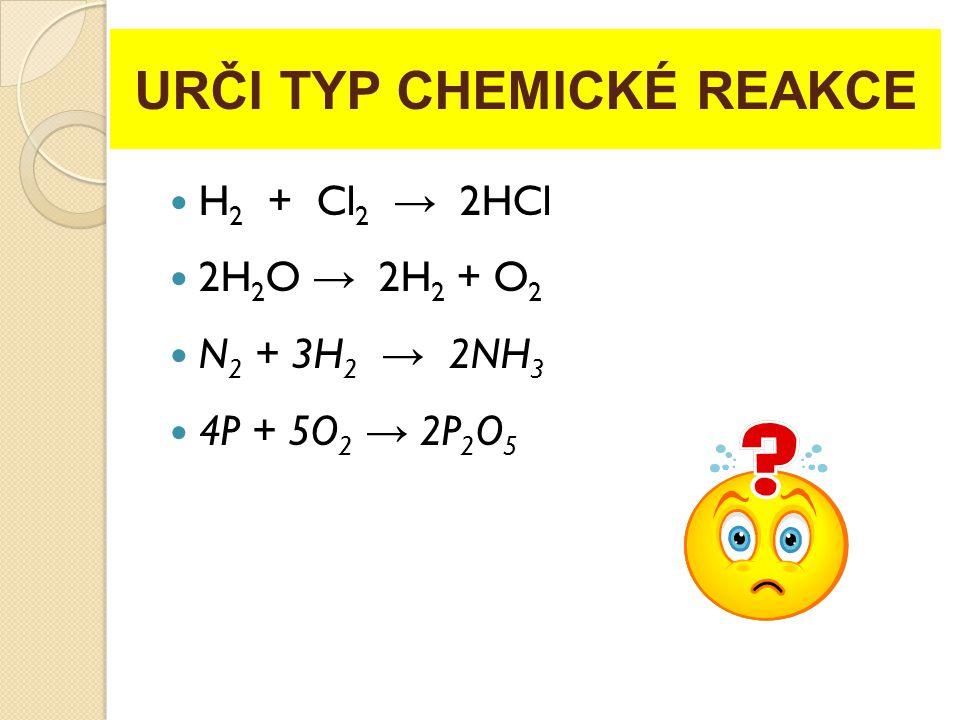 URČI TYP CHEMICKÉ REAKCE