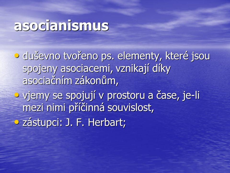 asocianismus duševno tvořeno ps. elementy, které jsou spojeny asociacemi, vznikají díky asociačním zákonům,