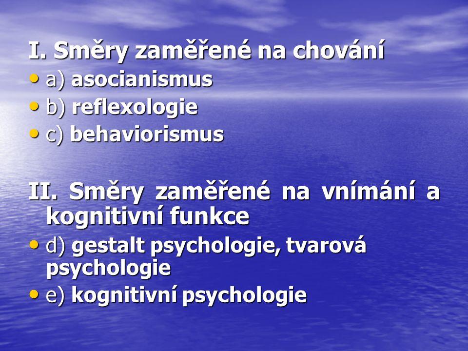 I. Směry zaměřené na chování