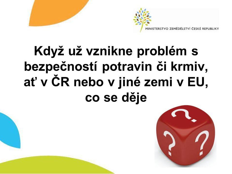 Když už vznikne problém s bezpečností potravin či krmiv, ať v ČR nebo v jiné zemi v EU, co se děje