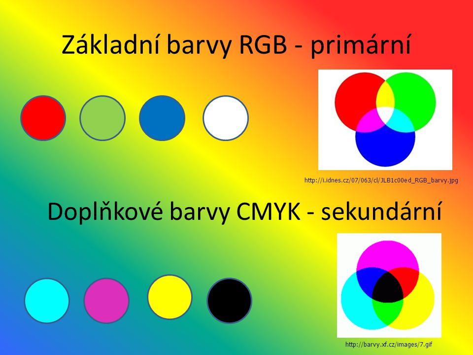 Základní barvy RGB - primární