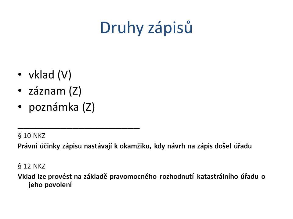 Druhy zápisů vklad (V) záznam (Z) poznámka (Z) ____________________