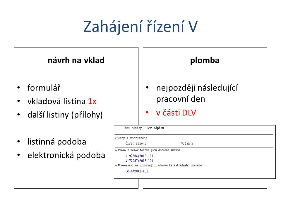 Zahájení řízení V návrh na vklad plomba formulář vkladová listina 1x