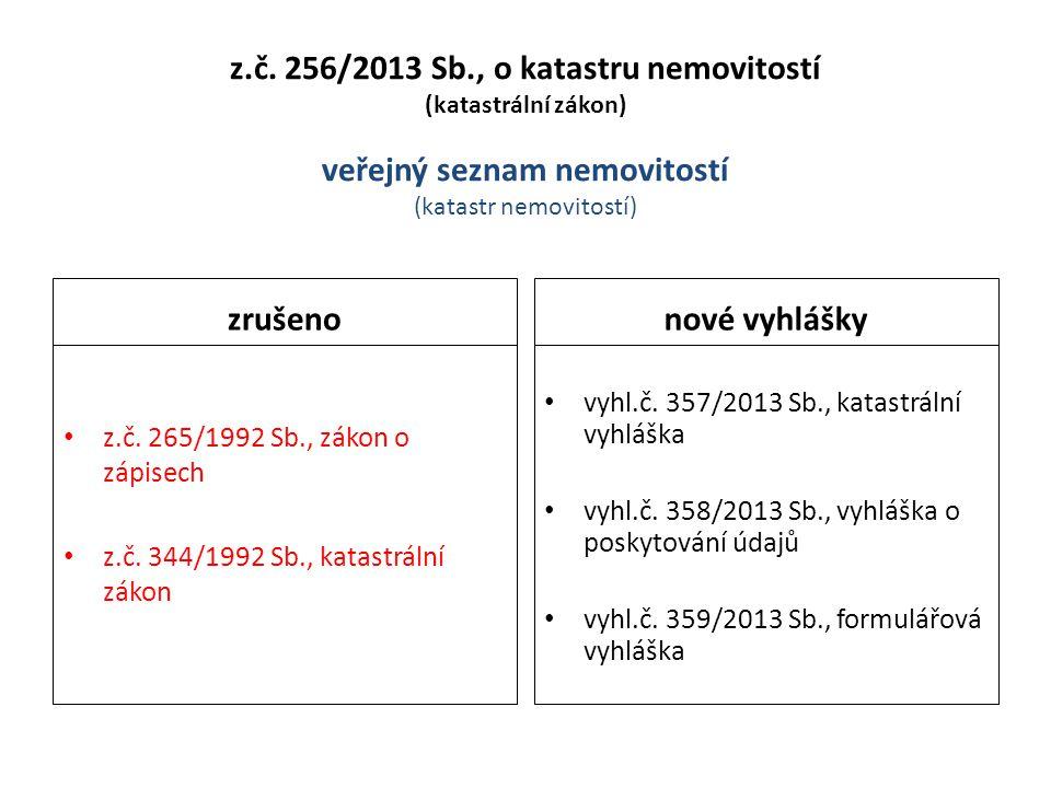 z.č. 256/2013 Sb., o katastru nemovitostí (katastrální zákon) veřejný seznam nemovitostí (katastr nemovitostí)