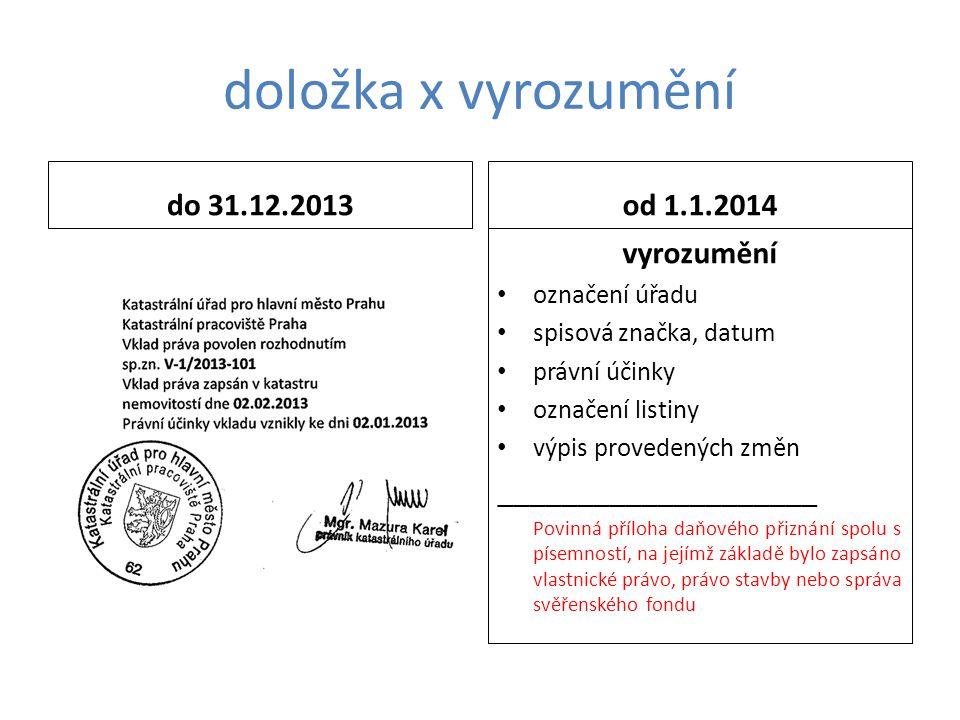 doložka x vyrozumění do 31.12.2013 od 1.1.2014 vyrozumění