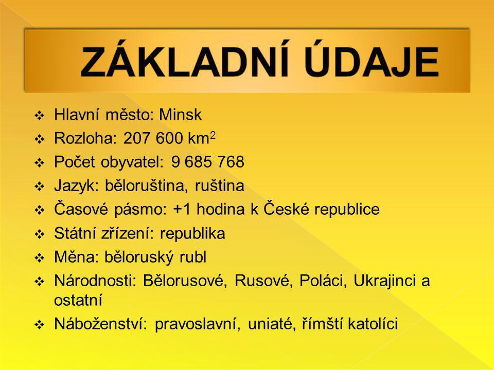 ZÁKLADNÍ ÚDAJE Hlavní město: Minsk Rozloha: 207 600 km2