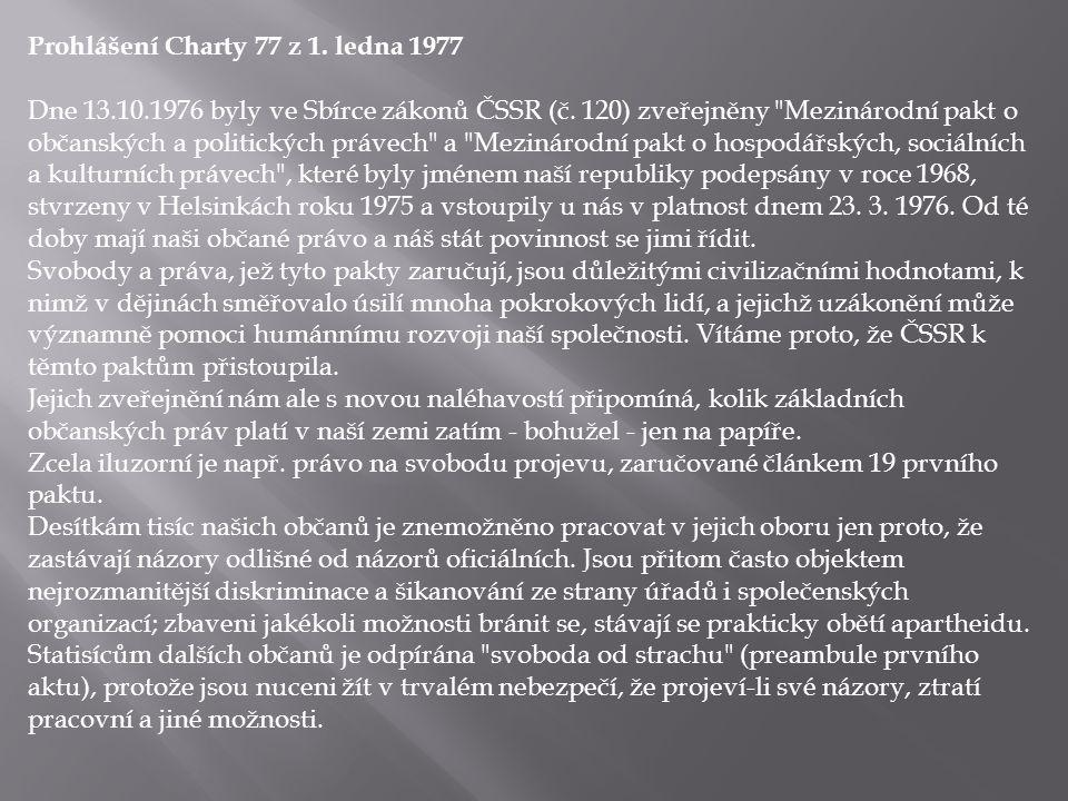 Prohlášení Charty 77 z 1. ledna 1977