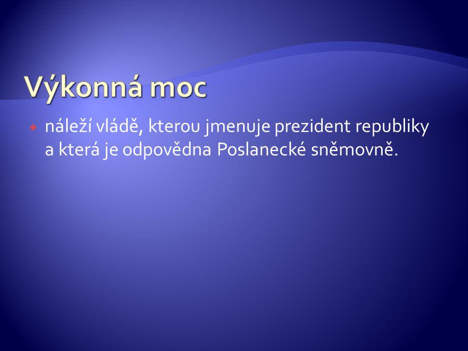 Výkonná moc náleží vládě, kterou jmenuje prezident republiky a která je odpovědna Poslanecké sněmovně.