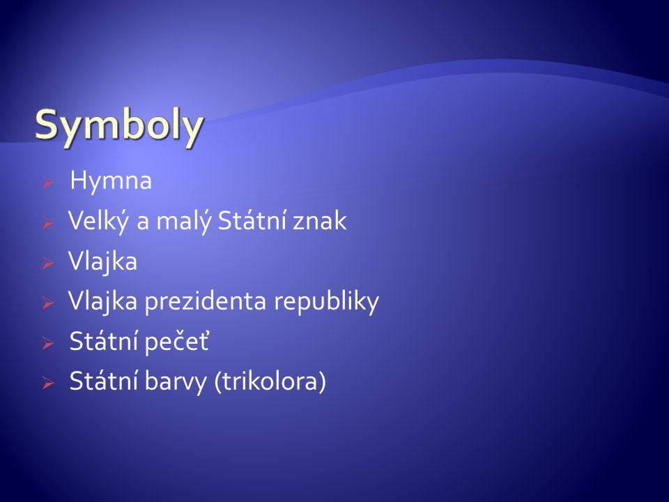 Symboly Hymna Velký a malý Státní znak Vlajka