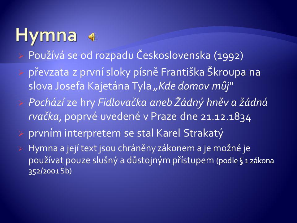 Hymna Používá se od rozpadu Československa (1992)