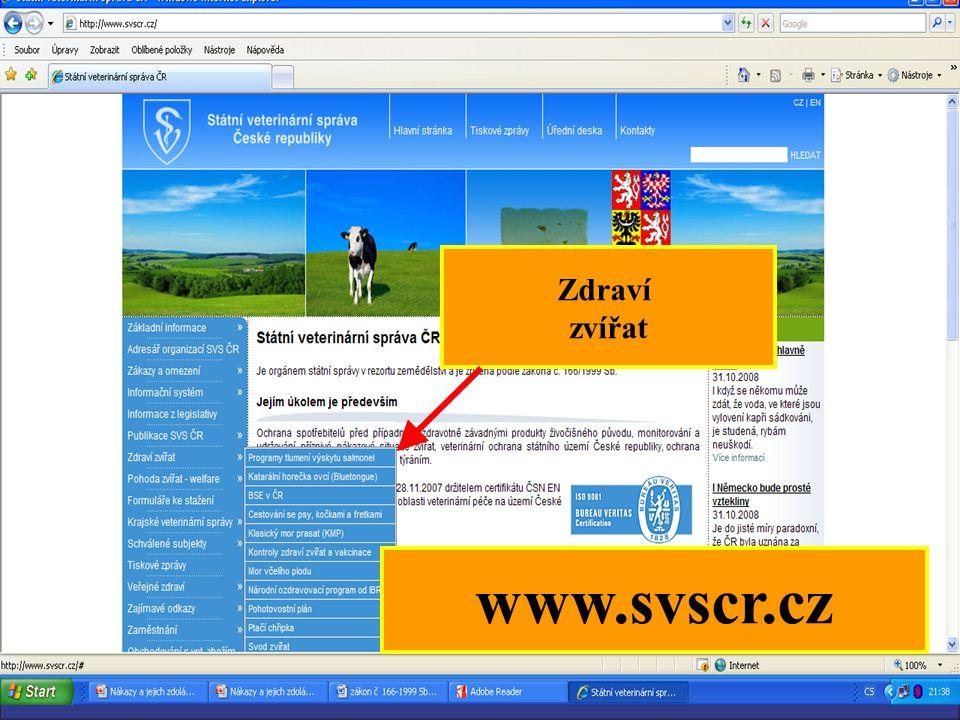 Zdraví zvířat www.svscr.cz