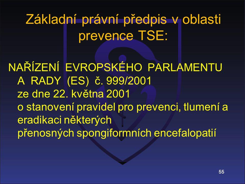 Základní právní předpis v oblasti prevence TSE: