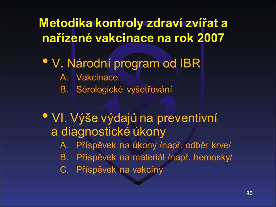 Metodika kontroly zdraví zvířat a nařízené vakcinace na rok 2007