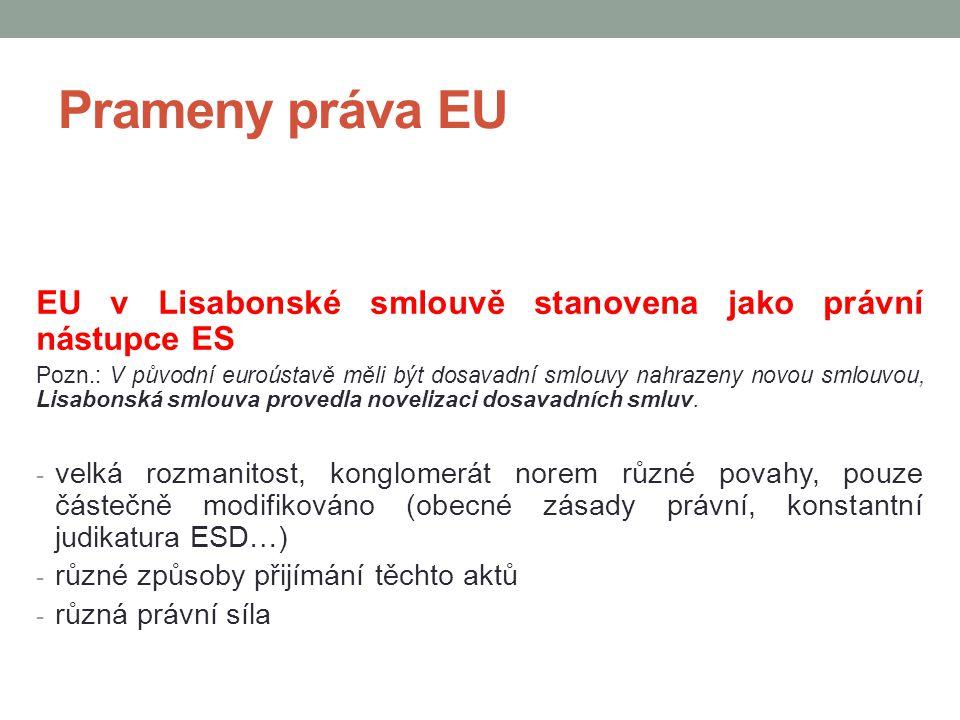 Prameny práva EU EU v Lisabonské smlouvě stanovena jako právní nástupce ES.