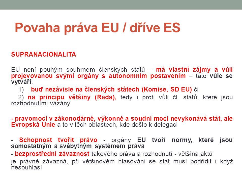 Povaha práva EU / dříve ES