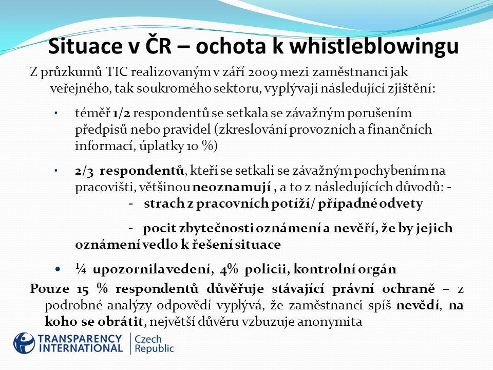 Situace v ČR – ochota k whistleblowingu