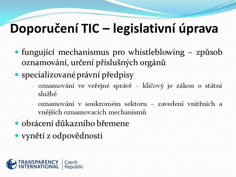 Doporučení TIC – legislativní úprava