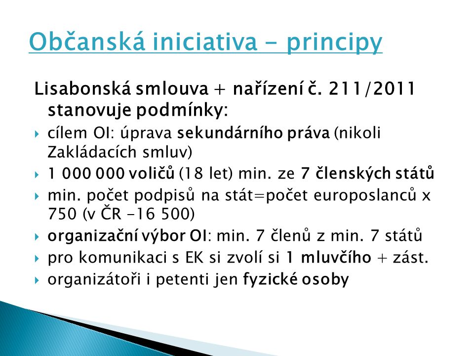 Občanská iniciativa - principy