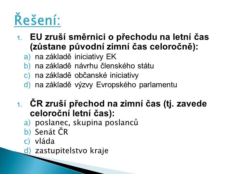 Řešení: EU zruší směrnici o přechodu na letní čas (zůstane původní zimní čas celoročně): na základě iniciativy EK.