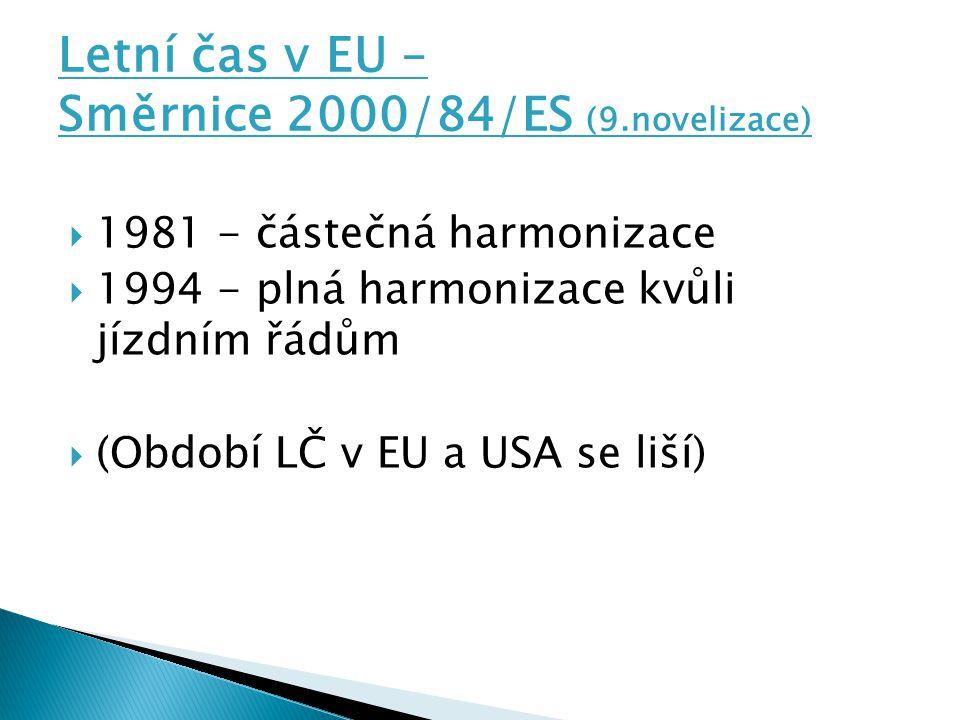 Letní čas v EU – Směrnice 2000/84/ES (9.novelizace)