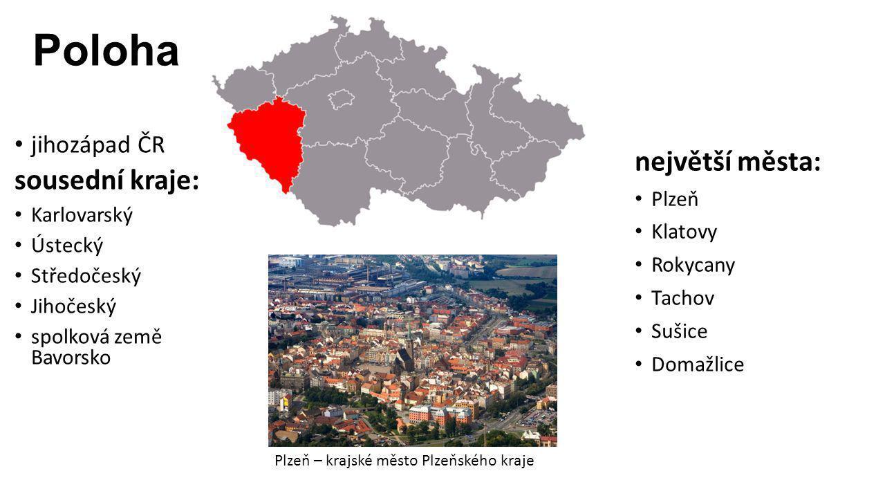Poloha sousední kraje: největší města: jihozápad ČR Karlovarský