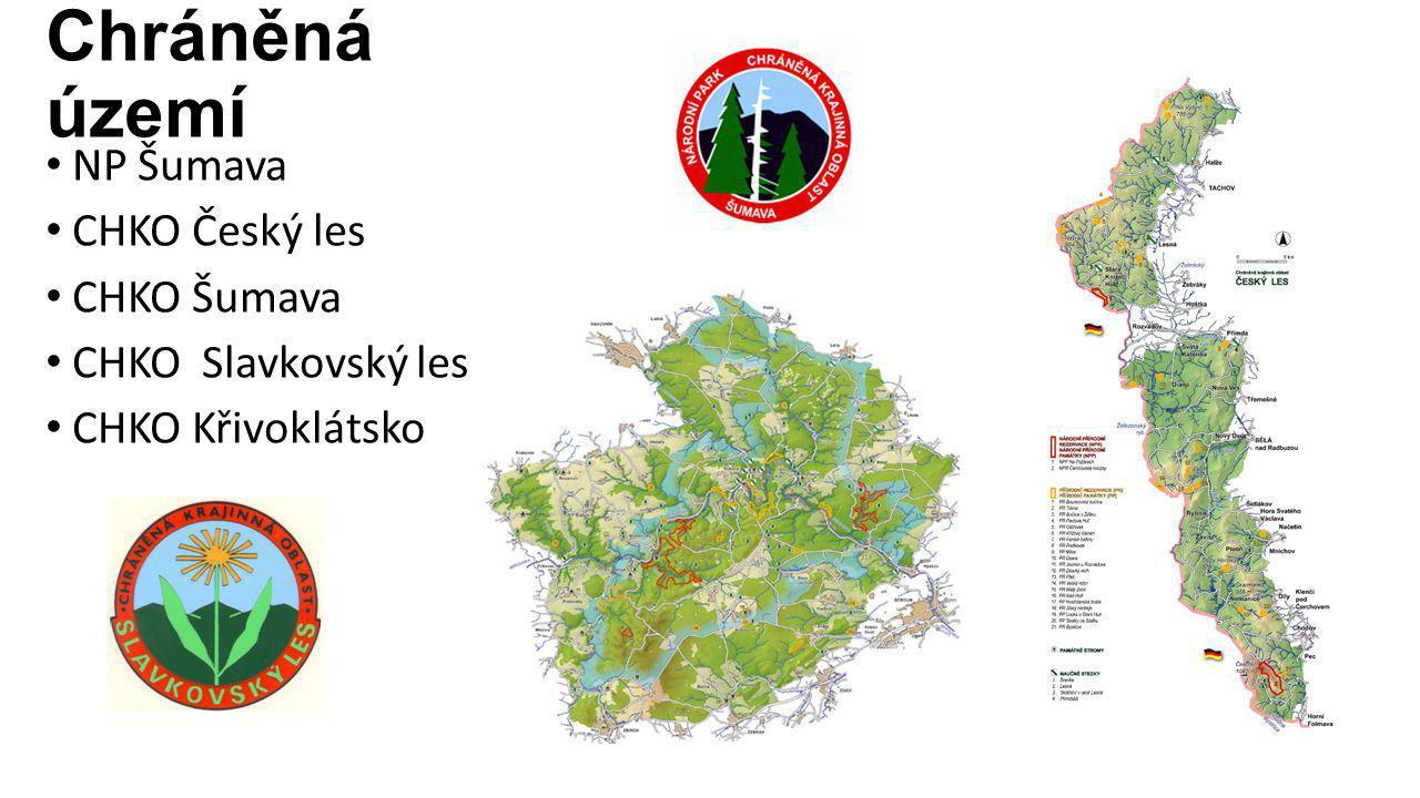 Chráněná území NP Šumava CHKO Český les CHKO Šumava