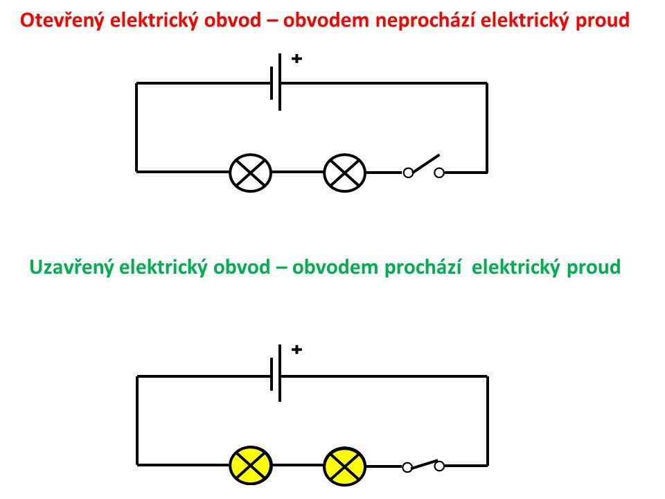 ˖ ˖ Otevřený elektrický obvod – obvodem neprochází elektrický proud ○