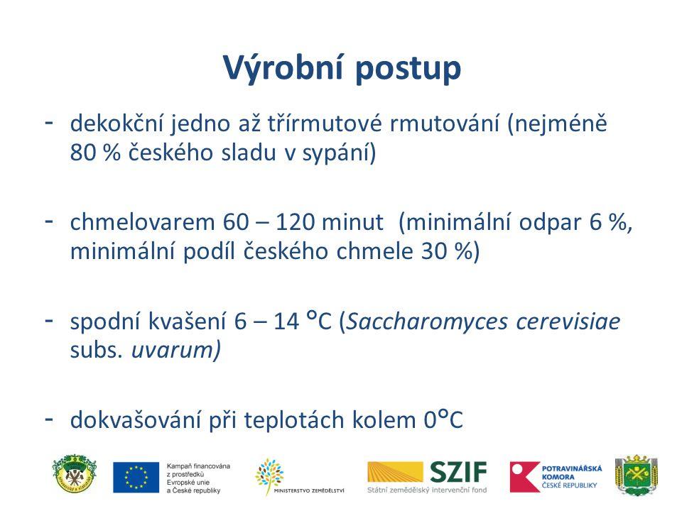 Výrobní postup dekokční jedno až třírmutové rmutování (nejméně 80 % českého sladu v sypání)