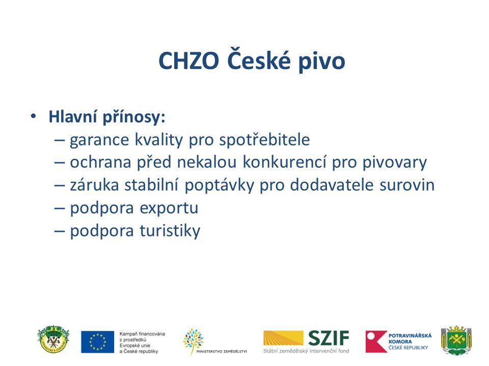 CHZO České pivo Hlavní přínosy: garance kvality pro spotřebitele