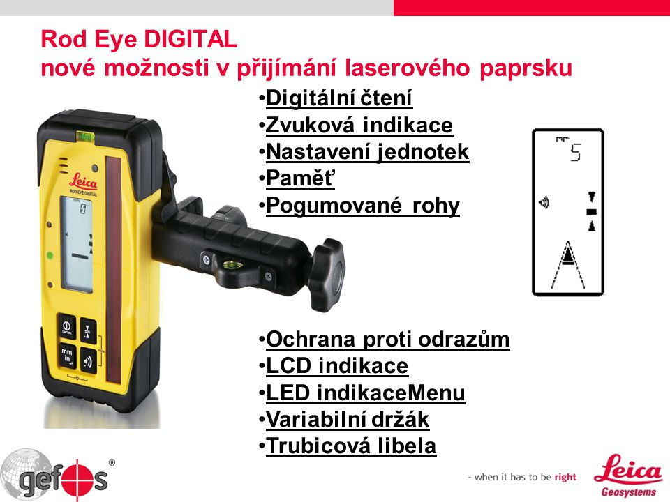 Rod Eye DIGITAL nové možnosti v přijímání laserového paprsku