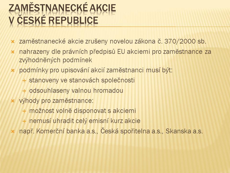 Zaměstnanecké akcie v České republice