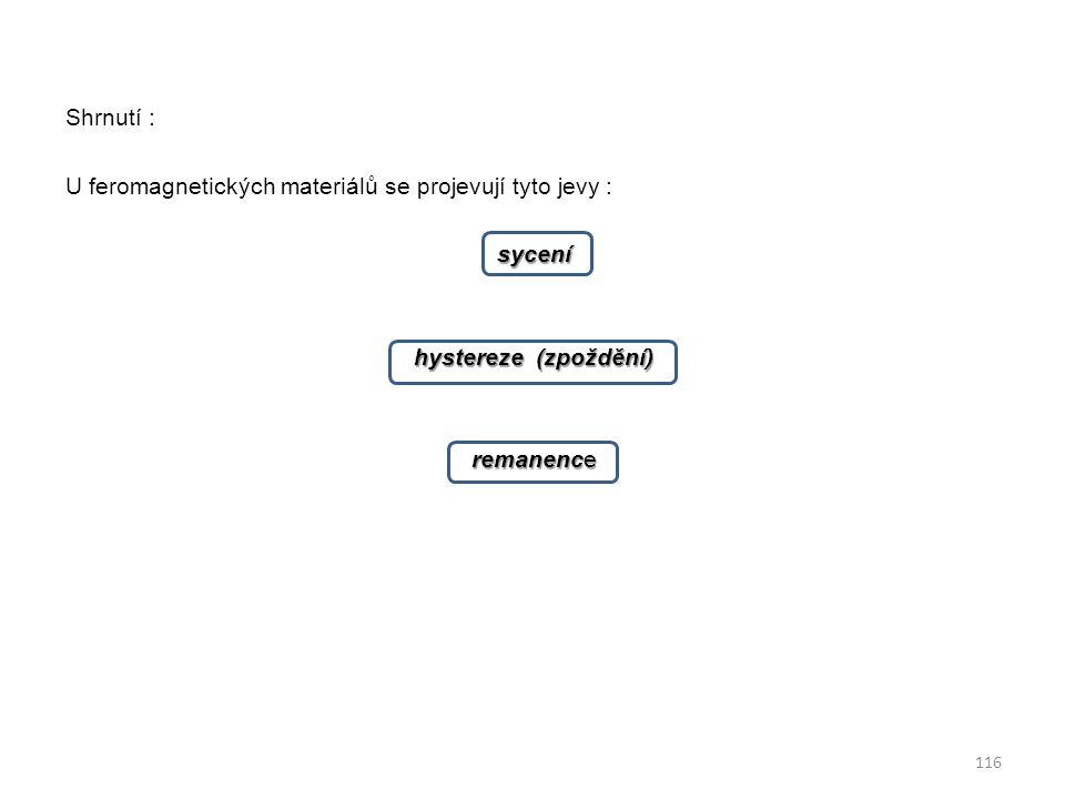 Shrnutí : U feromagnetických materiálů se projevují tyto jevy : sycení hystereze (zpoždění) remanence