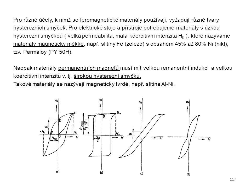 Pro různé účely, k nimž se feromagnetické materiály používají, vyžadují různé tvary hysterezních smyček.